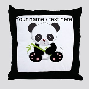 Custom Panda With Bamboo Throw Pillow